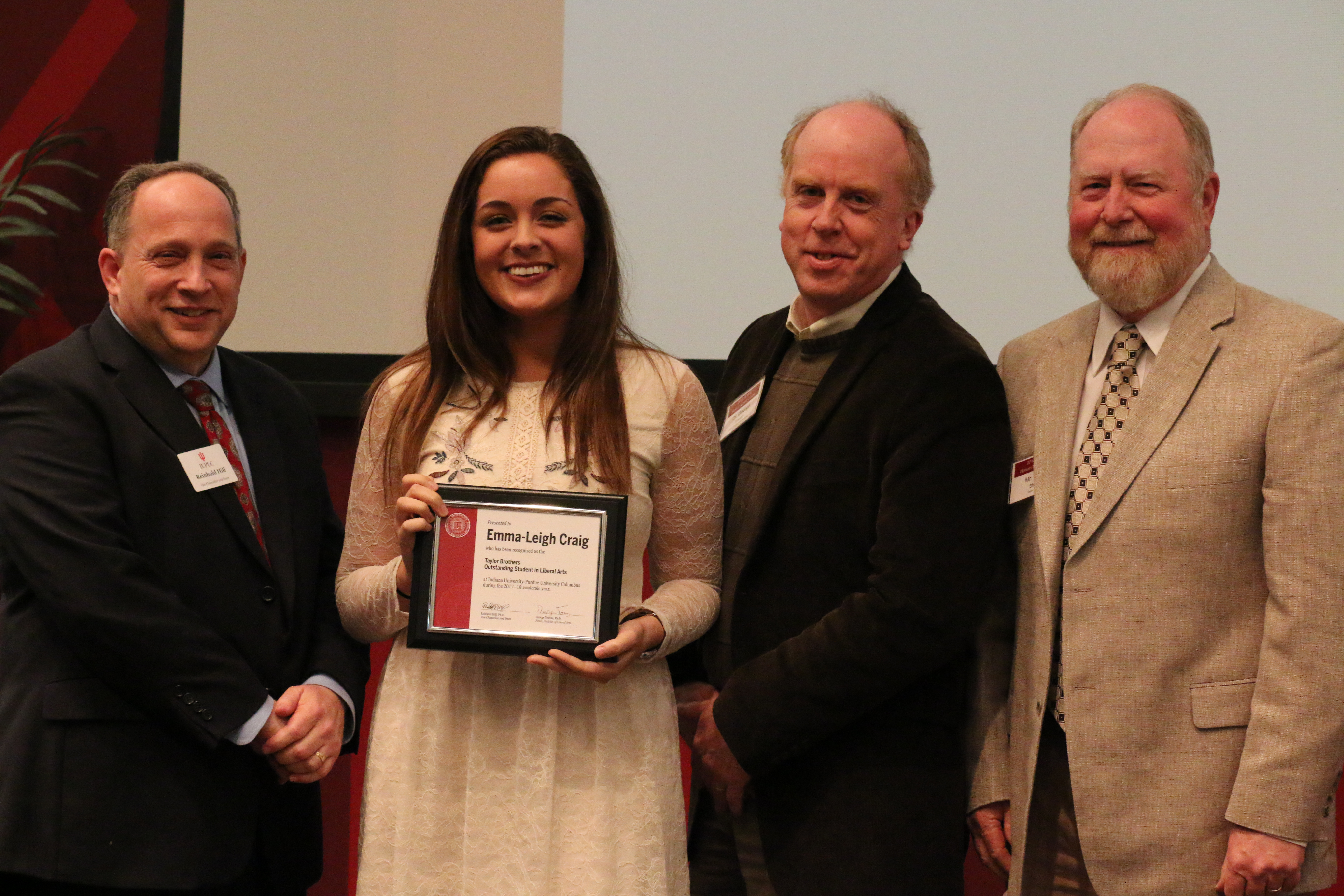 2018 Taylor Brothers Outstanding Liberal Arts Student winner, Emma Craig